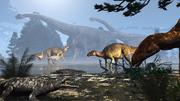 Iguanodons, ornithischien, sauropodes, Angeac, paléontologie, dinosaures, reconstitution Michel Fontaine