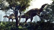 Iguanodons, ornithischien, paléontologie, crétacé, reconstitution,  Michel Fontaine